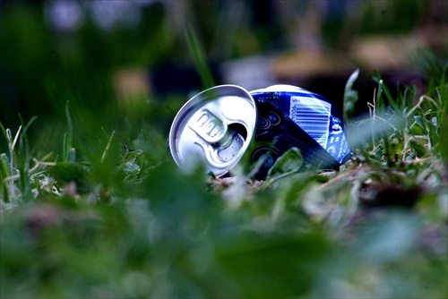 can in the grass