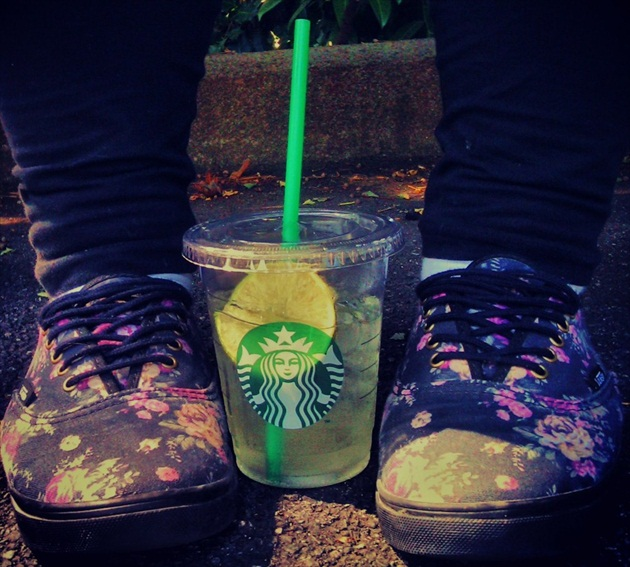 Starbucks and Vans shoes